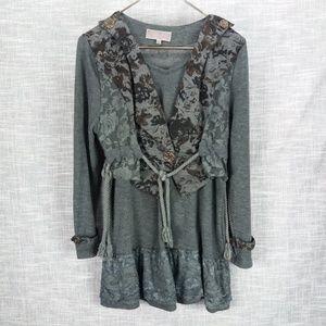 Pretty Angel Gray Layered Tunic Small Boho Lace